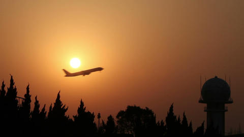 Plane Sunset stock footage