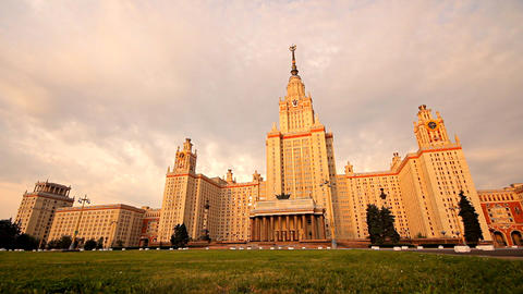 morning Moscow State University grass slider Footage