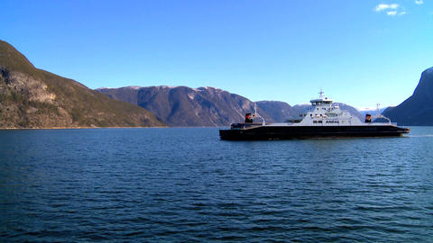 Passenger ferry on the crystal waters of a glacial fjord Footage