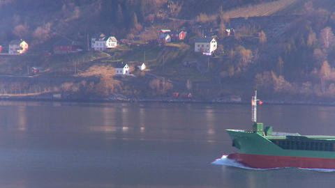Oil Tanker Transporting North Sea Oil Along A Glacial Fjord stock footage