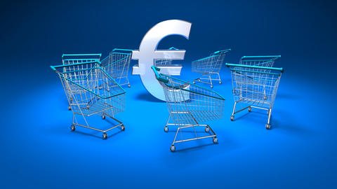 Shopping Cart Euro1 stock footage
