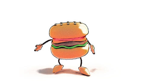 toon burger jump Animation