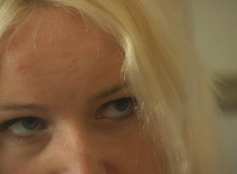 Close-up Of A Beautiful Blonde, Interior stock footage