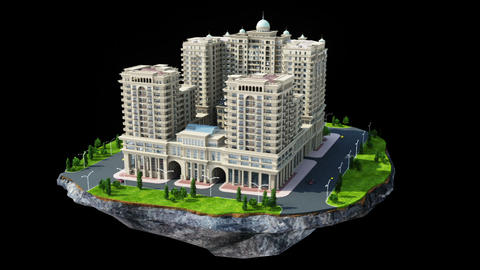 Construction of big residential building Animation
