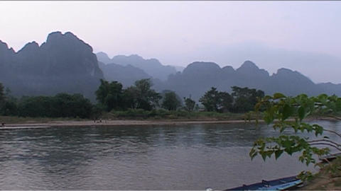 Karst Mountains, Sunset Red stock footage