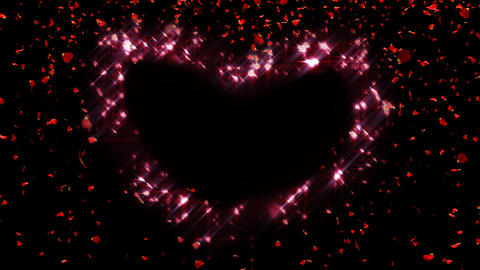 Falling Rose Petals Forming Heart stock footage