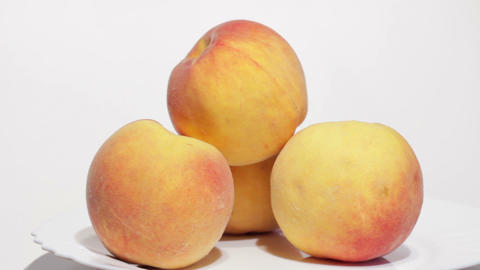 Juicy Peaches On White Background stock footage