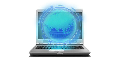 Global Internet Laptop, Notebook With Earth Hologr stock footage