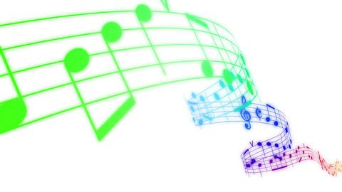 Music Notes Flowing In Rainbow Colors On White Bac stock footage