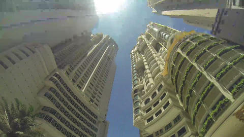 Skyscrapers And Sky. Bottom View stock footage