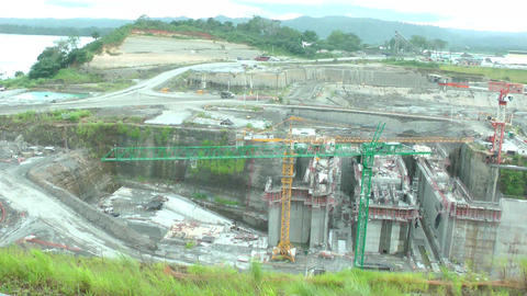 Day of work in the Panama Canal expansion project. Footage