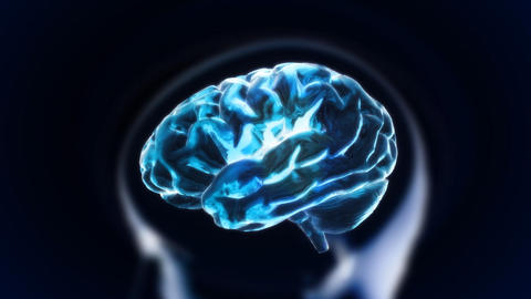 Blue Brain With Head Section Glow stock footage