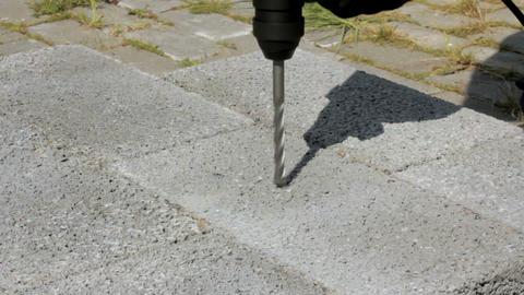 Drilling Hole Into Concrete. Outdoor stock footage