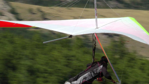 Hang Glider Prepares To Depart stock footage