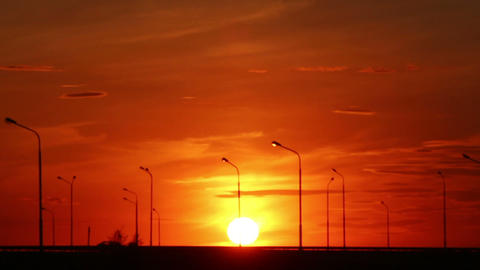 Cars Silhouettes On Road Against Sunset - Timelaps stock footage