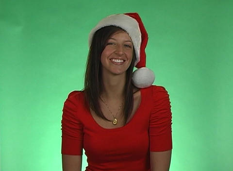 Beautiful Brunette Blows A Holiday Kiss stock footage