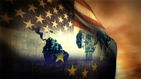 (1126) Multi-national Flag USA, EU And World Map Composition stock footage