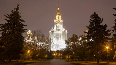 Moscow State University night hl 01 4 K HD Footage