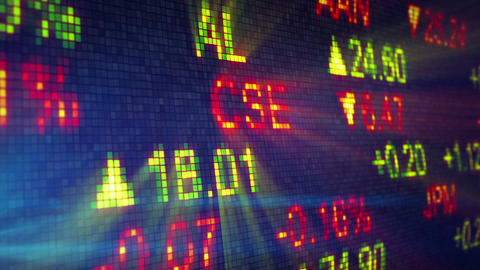 stock exchange data board close-up Animation