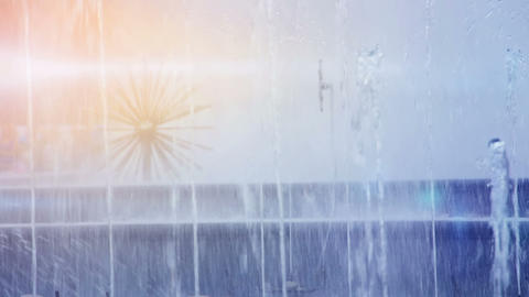 Fountain In Sunny Day stock footage