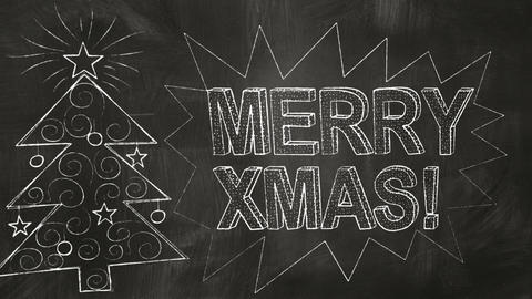 drawing merry christmas greetings on blackboard Animation