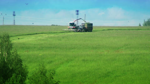 Combine And Tractor In The Field. Harvesting Green stock footage