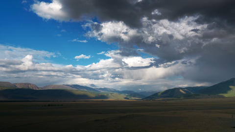 4K Steppe landscape with clouds time lapse Footage