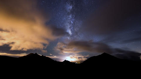 Milky Way Clouds Traffic In Mountain Time Lapse 11 stock footage