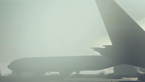 Misty morning at the airport Footage