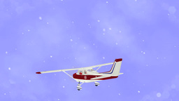 Santa Claus Flying On Airplane Animation