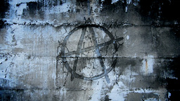 Anarchy Symbol In Urban Wall stock footage