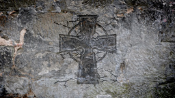 Celtic cross in a stone wall Animation