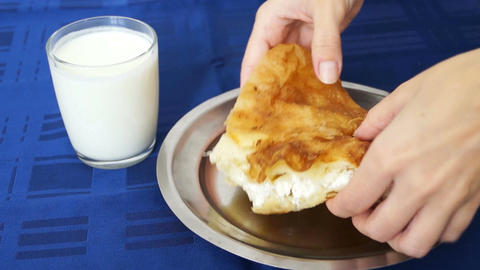 Eating burek Footage