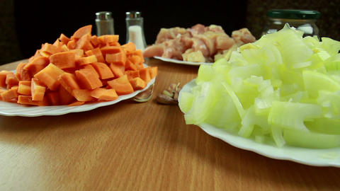 Carrot, Onion, Garlic And Meat - Ingredients For R stock footage
