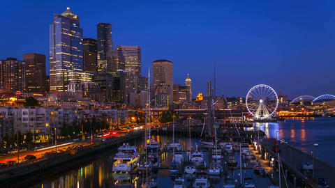 Seattle Waterfront Sunset, Time Lapse stock footage
