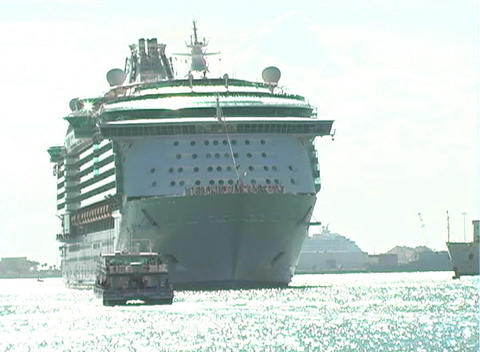 Cruise Ship Leaves Port (1) stock footage