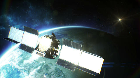 Beautiful View Of Satellite Orbiting The Earth. HD stock footage