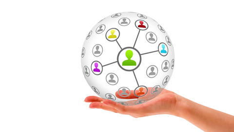 3D Friends Network Sphere stock footage