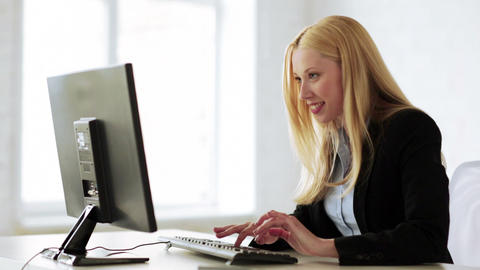 Business Woman With Triumph Expression In Office stock footage