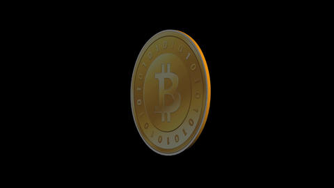Rotation of gold bitcoin coin,Virtual Currency Animation