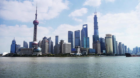 Shanghai Time Lapse,Lujiazui Financial Center,busy Huangpu River Shipping stock footage