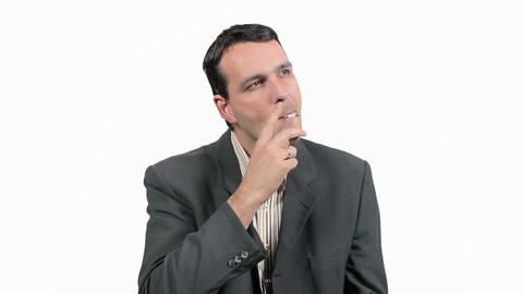 Businessman Smoking Cigarette Footage
