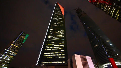 Modern Urban Building,shanghai Pudong Economic Center Landmarks At Night stock footage