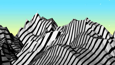 Mountain with zebra pattern,Dream hills in Science Animation