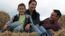 Family On Hay stock footage
