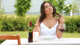 Woman Having Lunch stock footage