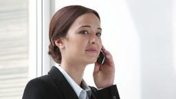Businesswoman Talking On Mobile Phone stock footage