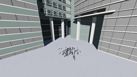 Employees walk in office building Animation