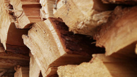 Panoramic Close-up Firewood stock footage