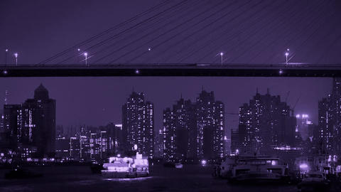 Brightly Lit Ships On River At Night,across The Sea Bridge,urban Modern Building stock footage